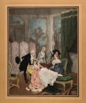 view A young woman convalescing in her boudoir with a visiting couple, while her maid prepares her medicine. Reproduction of a coloured aquatint.