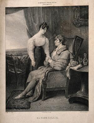 view A sick husband holds the hand of his wife. Lithograph by C. Motte after A. Maurin after H. Decaisne, 182-.