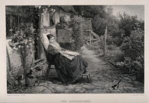 view A young woman convalescing in a country garden watches a bird feed on bread. Line engraving by C. Cousen, 1877, after M.B. Foster.