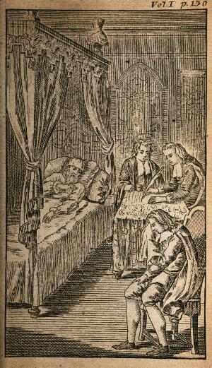 view A dying man making his will to lawyers while a relative cries. Line engraving.