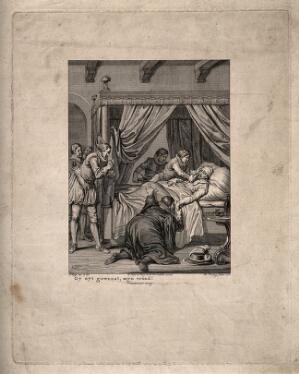 view A dying man in his bed surrounded by praying grief-stricken figures. Line engraving by T. Koning, 1782, after J. Buys.