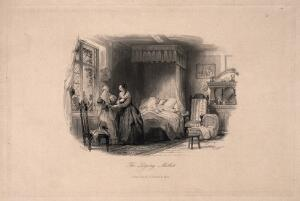 view A dying woman lies in bed: a woman at the bedside is consoled by another. Line engraving by F. Lightfoot after T. Allom.