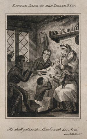 view A little girl (Jane) lies dying, surrounded by her family who weep and grieve. Line engraving by Brown.