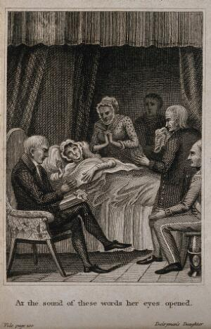 view A young woman lies dying in her bed surrounded by a grieving family. Line engraving.