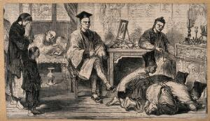 view The funeral of a Chinese merchant's wife in Hong Kong. Wood engraving after G.W. Cooke (?), 1859.
