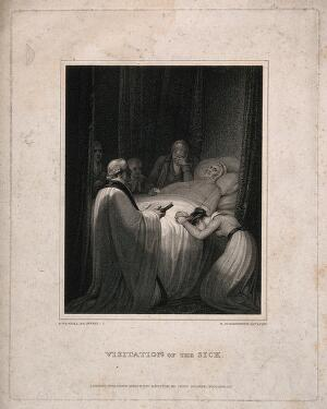 view People crowd around a dying person's bed in grief while final rites are being read. Stipple engraving by N. Schiavonetti, 1812, after R. Westall.