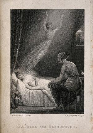 view Fathime's astral body leaving her as she dies while Euphrosyne sits and watches. Line engraving by S. Davenport after H. Corbould.