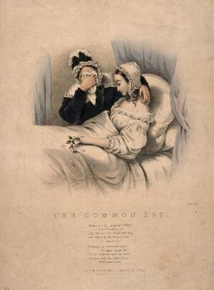 view A mother cries in grief while comforting her dying daughter, who holds a rosebud with falling petals. Coloured lithograph by J. Bouvier.