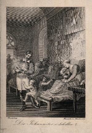 view The interior of a hospital of the Order of St. John. Line engraving by Rasmäsler, 1828, after J.H. Ramberg.
