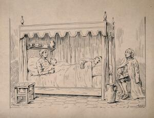 view Three sick soldiers sharing a bed while another watches over them. Pen and ink drawing by Clarus.