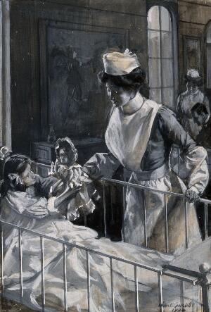 view A nurse checking on a playful child. Watercolour drawing by J.E. Sutcliffe, 1904.
