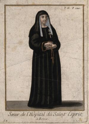 view A nun from the Hospital of Santo Spirito, Rome. Coloured line engraving by C. Duflos.
