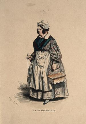 view A home nurse carrying a 'hot-coal' bed warmer. Coloured wood engraving by J.A. Lavieille after H.B. Monnier.