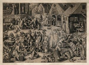 view A scene showing alms-giving of food, water, clothes and money; in the midst of this Charity is seen with a Pelican on her head holding a Sacred Heart. Line engraving by H. Cock after P. Bruegel, 1559.