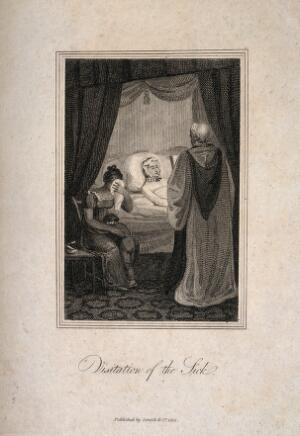 view A young woman being visited by a member of the clergy while another woman cries beside her. Line engraving, 1813.