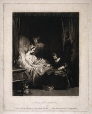 view A sick young girl in bed being counselled by a nun while another woman looks anxious. Mezzotint by S.W. Reynolds, 1829, after R.P. Bonington.
