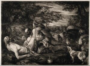 view The good samaritan seeing to an unfortunate man's (Christ?) wounds while a priest and Levite walk into the distance. Etching by W. Unger after F.G. Bassano the younger.