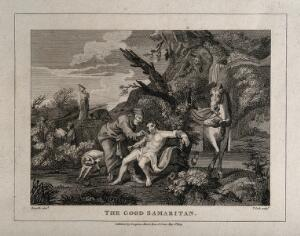 view The good Samaritan tending to a wounded man while a priest and a Levite walk on by. Line engraving by T. Cook, 1809, after W. Hogarth.