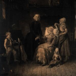 view A sick mother has her pulse taken by a priest while her children look concerned. Mezzotint.