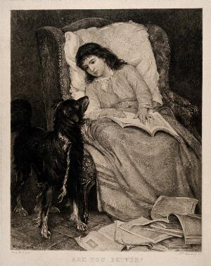 view A young girl convalescing in an armchair is visited by her dog. Etching by H. Formstecher after H. Bacon.