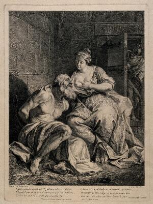 view Pero breast-feeding her father Cimon in prison. Line engraving by J.P. le Bas after N.N. Coypel.