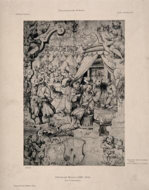 view A surgeon on the battlefield. Reproduction of a pen and ink drawing by C. Maurer.