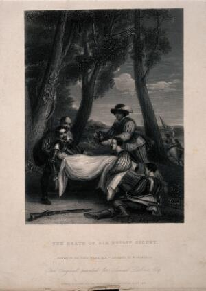 view The death of Sir Phillip Sidney at the battle of Zutphen. Line engraving by W. Greatbach after Sir D. Wilkie.