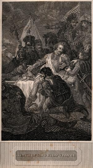 view The death of Sir Philip Sidney at the battle of Zutphen. Line engraving.