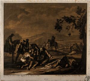 view Tending the sick and wounded after a battle. Tinted mezzotint by J.C. Rugendas after G.P. Rugendas, 1698.