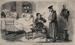 view A ward in a military hospital showing two convalescents and two bed-ridden patients. Wood engraving after Cham, 1870.