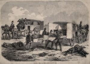 view Wounded soldiers being taken to hospital by ambulance. Wood engraving by J. Gaildrau, 1854.