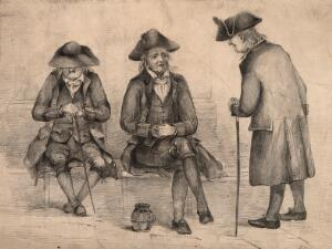 view Three old veterans, two sitting, one standing. Pencil drawing.