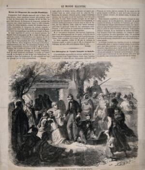 view French army surgeons treating a sick algerian, Kabylie, Algeria. Wood engraving by W. Measom?, 1852.
