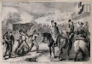 view American Civil War: officers saluting the wounded being brought in after the battle of Lewinsville, Virginia, 1861. Wood engraving by F. Skill.