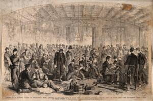 view Return of wounded Confederate prisoners, under a flag of truce, during the American Civil War. Wood engraving.