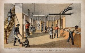 view Wash and Bath room at the Soldier's depot, America. Coloured lithograph, 1864.