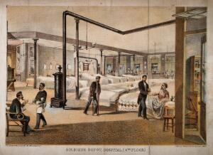view Soldier's Depot Hospital, America. Coloured lithograph, 1864.