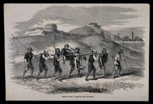 view Chinese carrying a wounded man on stretcher poles. Wood engraving.