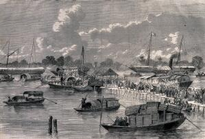 """view Sick and wounded boarding the steamer """"Canton"""", China. Wood engraving, 1858."""
