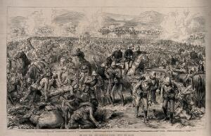 view Battle of Ulundi, part of the Zulu War, South Africa: with a numbered key. Wood engraving.
