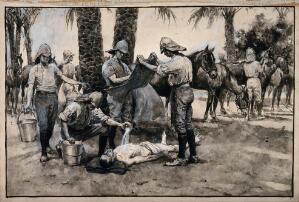 view Metemma, Ethiopia: soldiers treating a trooper with severe sunstroke. Watercolour drawing.