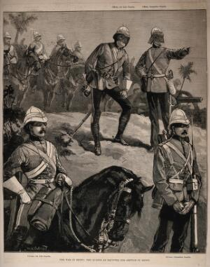 view War in Egypt, Egypt: soldiers using the new eye protection and head gear. Wood engraving by W.J. Palmer after W.H. Duerend.