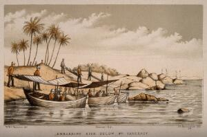 view Embarking sick below third cataract. Coloured lithograph by J.G. Keulemans after W.W.C. Verner.