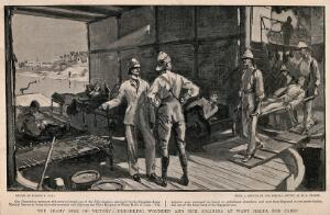 view The War in Egypt, Egypt: patients being taken on board one of the Nile steamers. Process print after S.P. Hall after H.H.S. Pearse.