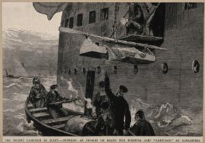 view The War in Egypt: hoisting invalids on board a hospital ship. Wood engraving.