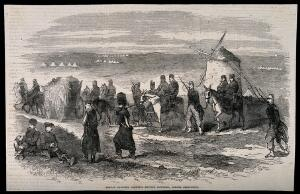 view Crimean War: French ambulance men carrying the English wounded before Sebastopol. Wood engraving.