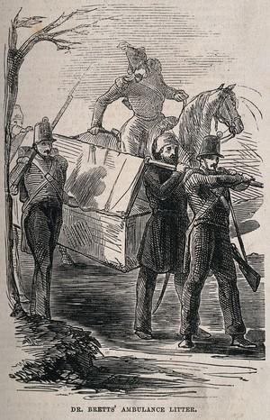view Crimean War: Dr. Bretts' ambulance litter. Wood engraving.