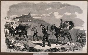 view Crimean War: new ambulance transport service. Wood engraving.