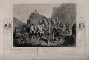 view Crimean War: removal of wounded soldiers with two small illustrations in the border. Line engraving by G. Greatbach after R. Hind.