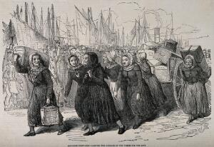view Crimean War, France: fishwomen carrying the luggage of nurses at Boulogne. Wood engraving by W. Thomas.